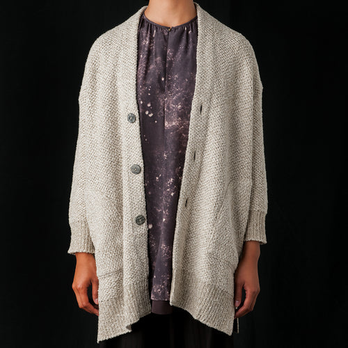 Mixed Yarn Cardigan in Beige