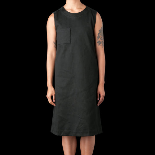 Japanese Bedford Corduroy Dress in Black