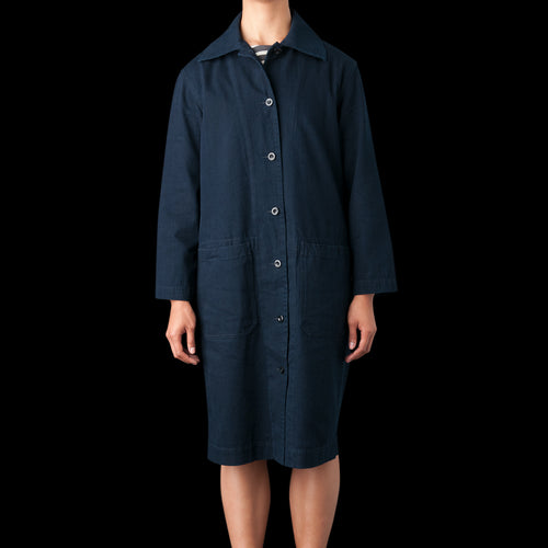 Yarn Dye Coat Dress in Indigo