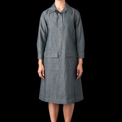 MHL / Margaret Howell - Cotton Linen Chambray Overhead Dress in Grey