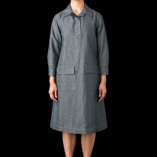 Cotton Linen Chambray Overhead Dress in Grey