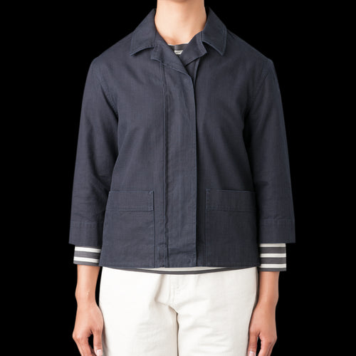 Twill Elbow Sleeve Jacket in Indigo