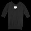 MHL / Margaret Howell - Wool Cotton V Neck Tee in Black