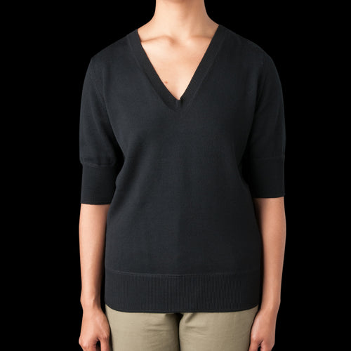 Wool Cotton V Neck Tee in Black
