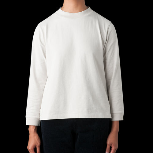 Matte Jersey Wide Crew Neck in Pale Grey