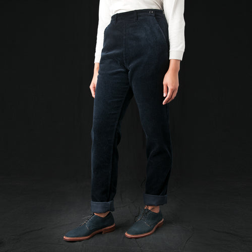 Heavy Corduroy Side Zip Trouser in Midnight