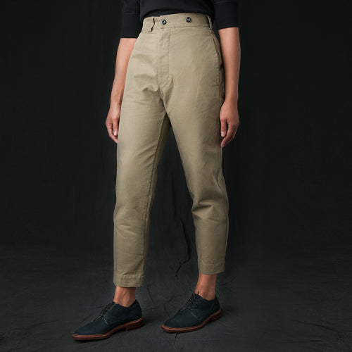 Dense Cotton Drill Tapered Trouser in Army Green