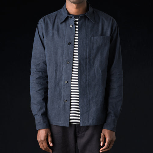 Cotton Linen Wide Fly Shirt in Indigo