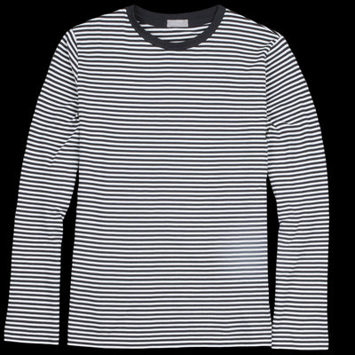 Margaret Howell - Narrow Stripe Cotton Long Sleeve Tee in Dark Navy & White
