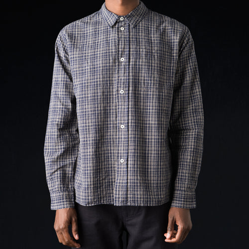 Cotton Linen Offset Check Painters Shirt in Navy & Natural