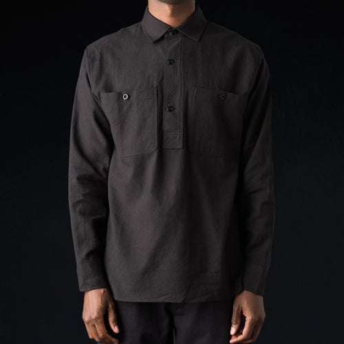 Japanese Wool Overhead Shirt in Black