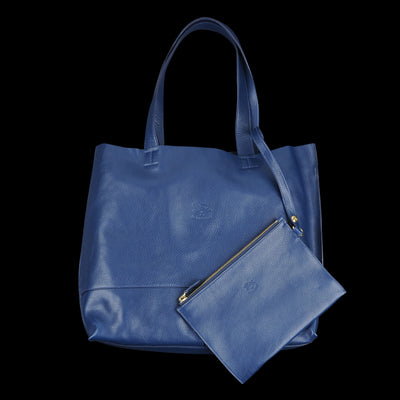 Il Bisonte - Talamone Tote with Interior Clutch in Blu