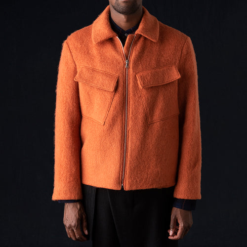 Brushed Wool Harrington in Orange