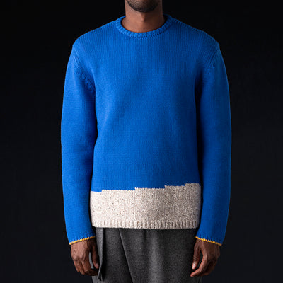 Deveaux - Tweed & Cashmere Colorfield Crew in Beige & Blue