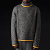 Deveaux - Tweed & Cashmere Oversized Turtleneck in Ash & Yellow