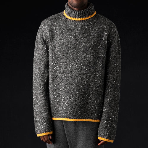 Tweed & Cashmere Oversized Turtleneck in Ash & Yellow