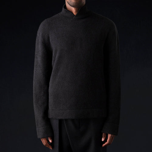 Cashmere Silk Split Mock Neck in Black