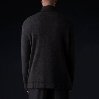 Deveaux - Cashmere Silk Split Mock Neck in Black