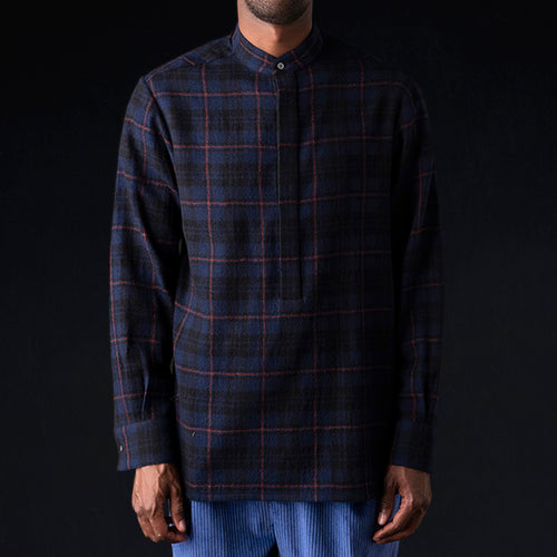 Plaid Gauze Tunic Shirt in Blue