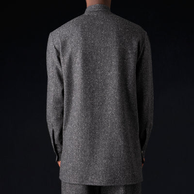 Deveaux - Wool Herringbone Tunic Shirt in Grey