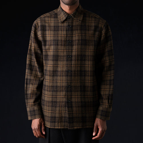Plaid Gauze Overshirt in Olive