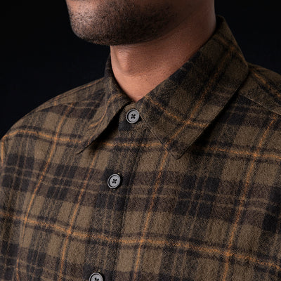 Deveaux - Plaid Gauze Overshirt in Olive