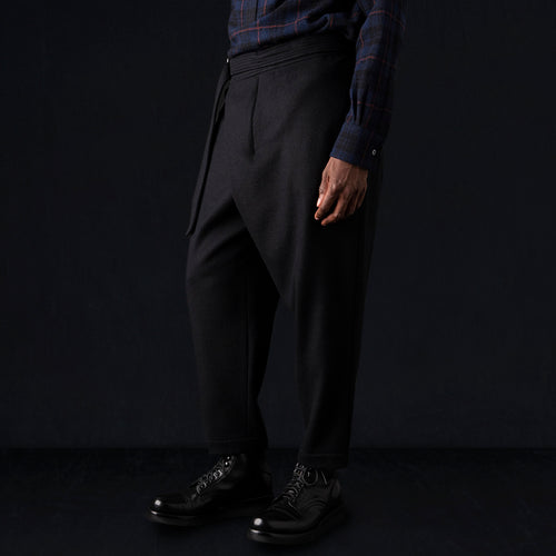 Wool Melton Asymmetrical Pant in Black