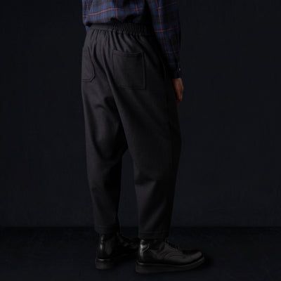 Deveaux - Wool Melton Asymmetrical Pant in Black