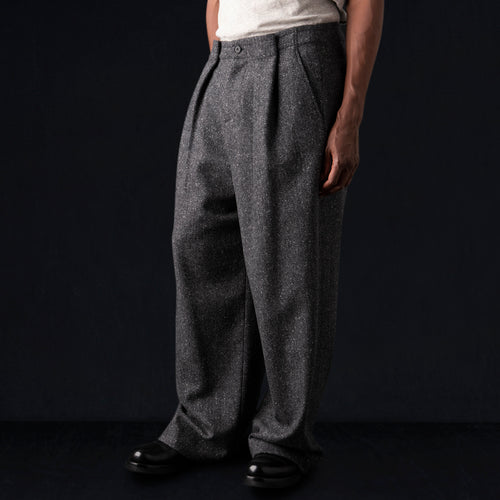 Wool Herringbone Tommy Pant in Grey