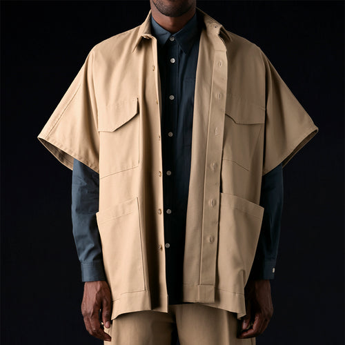 Canvas 4 Pocket Shirt Poncho in Khaki