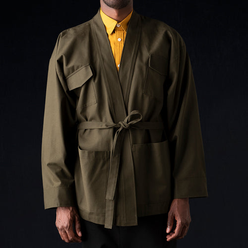 Canvas Karate Jacket in Army Green