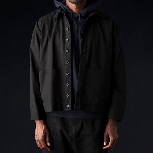 Ripstop Cropped Shorty Shirt Jacket in Black