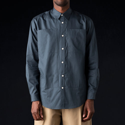 Long Sleeve 4 Pocket Relaxed Shirt in Cadette Blue