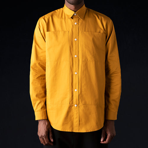 Long Sleeve 4 Pocket Relaxed Shirt in Amber