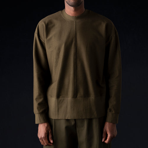 Ultra Fine Terry The Big Sweatshirt in Army Green