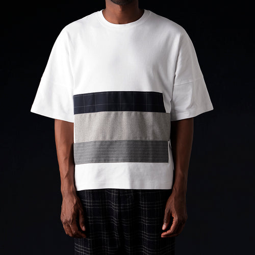 The Big Tee with Patchwork in White