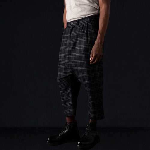 "Plaid Drop Crop ""Herman"" Pant in Midnight Blue"