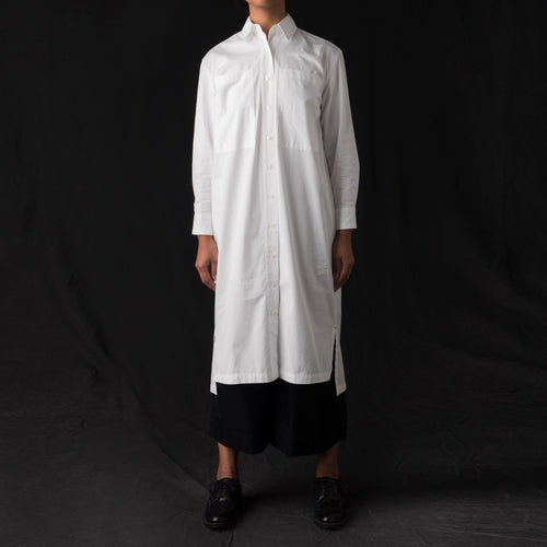Fine Twill Two Pocket Shirt Dress in White