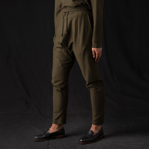 Ultra Fine Terry Drop Rise Sweatpant in Army Green