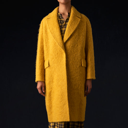Double Face Shaggy Chesterfield Coat in Yellow