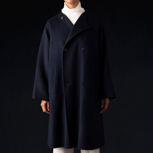 Double Face Collarless Trench Coat in Navy