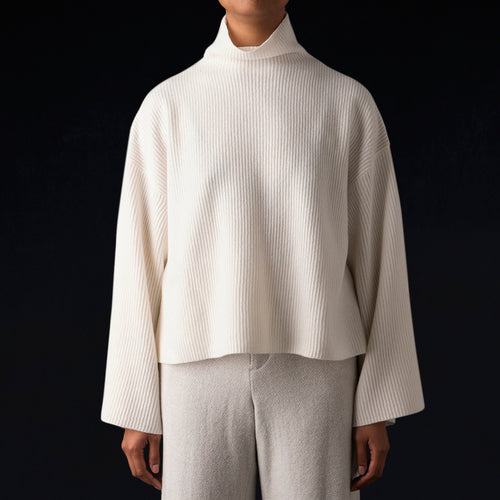 High Neck Pullover in White