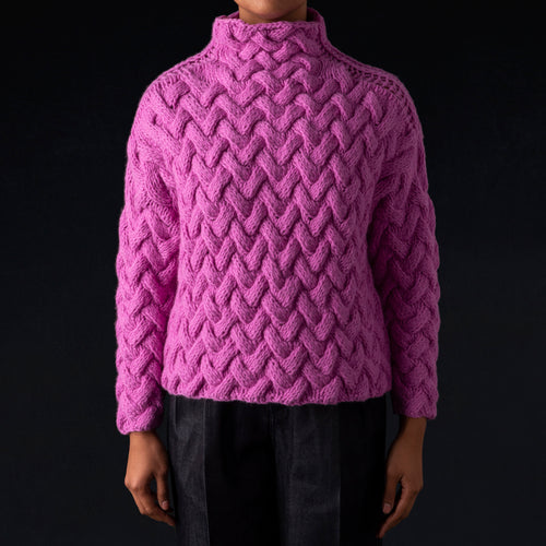 Hand Knit High Neck Pullover in Pink