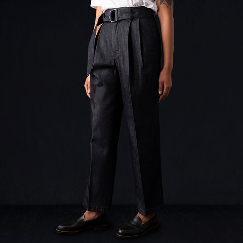 Denim Belted Pant in Navy