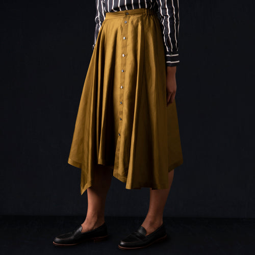Cotton Satin Button Fly Skirt in Brown