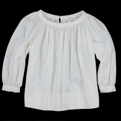 Tomorrowland - Cotton Satin Volume Gather Blouse in White