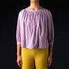 Tomorrowland - Pin Check Volume Gather Blouse in Purple
