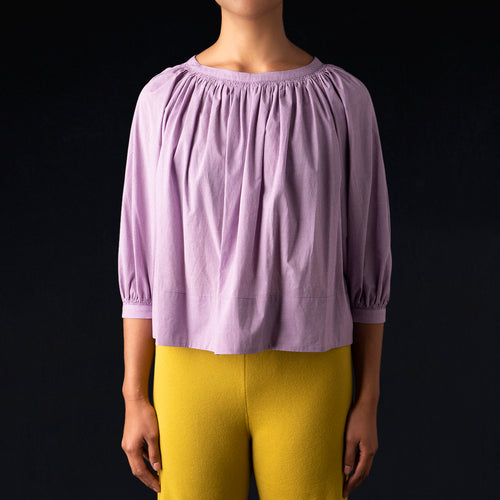 Pin Check Volume Gather Blouse in Purple