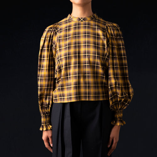 Soft Viella Puff Sleeve Blouse in Mustard Check