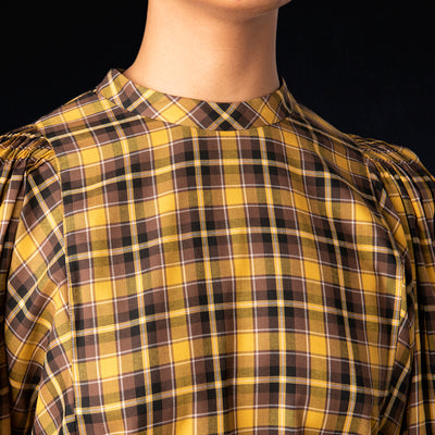 Tomorrowland - Soft Viella Puff Sleeve Blouse in Mustard Check
